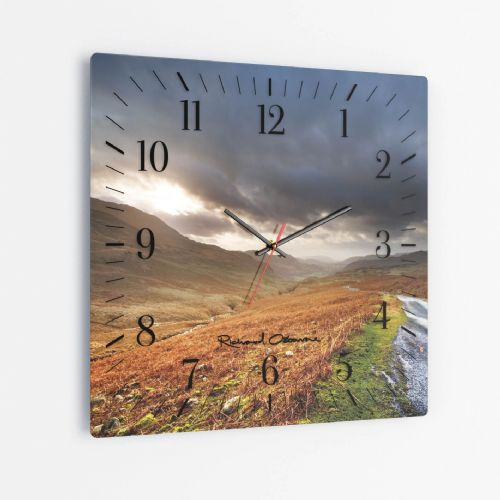 Hardknott Pass - Square Glass Clock